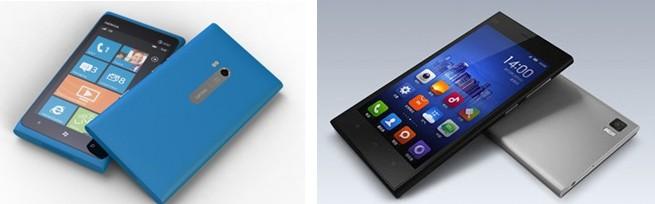 左:Nokia Lumia 920;右:MI3