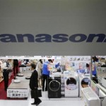 Panasonic Corp's Logo is pictured at an electronics store in Tokyo