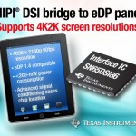 德州儀器推出可在圖形處理器與嵌入式 DisplayPort (eDP) 面板之間提供 MIPI® DSI 橋的最新連接 IC