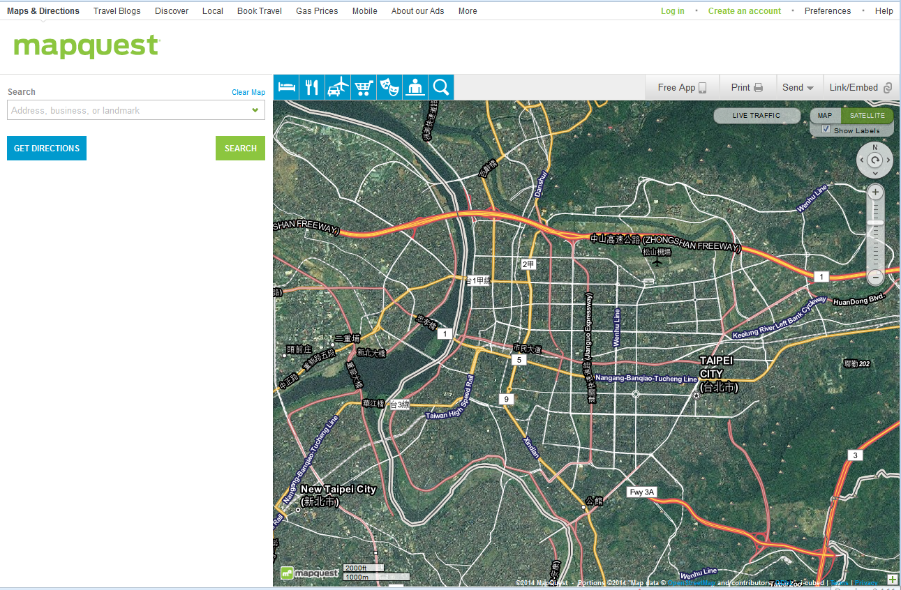 MapQuest Maps -hybrid