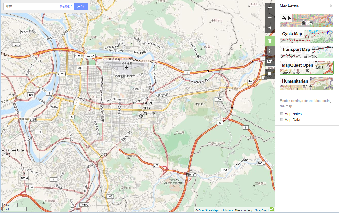 OpenStreetMap-MapQuest-Taipei