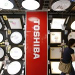 Logo of Toshiba Corp is seen at an electronics store in Yokohama