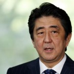 Japan's PM Abe speaks to the media at his official residence after Japan and the U.S. issued a joint statement in Tokyo