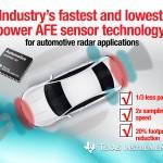 德州儀器 AFE 感測器技術 有助汽車雷達系統探測道路安全性