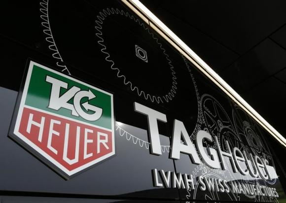 The Tag Heuer logo is seen at the entrance of their new watch manufactory in Chevenez