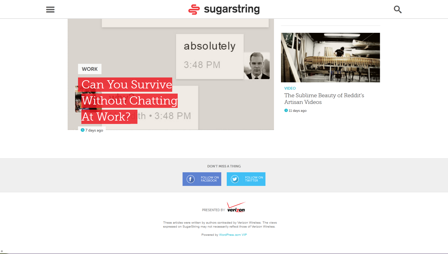 Homepage SugarString