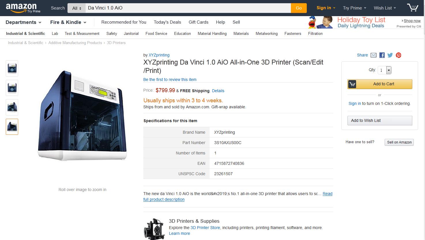 XYZprinting Da Vinci 1.0 AiO All-in-One 3D Printer Amazon