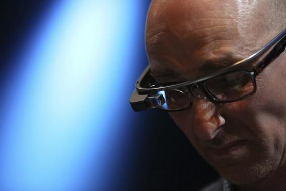 A man wears a Google Glass at Apple's Worldwide Developers Conference in San Francisco