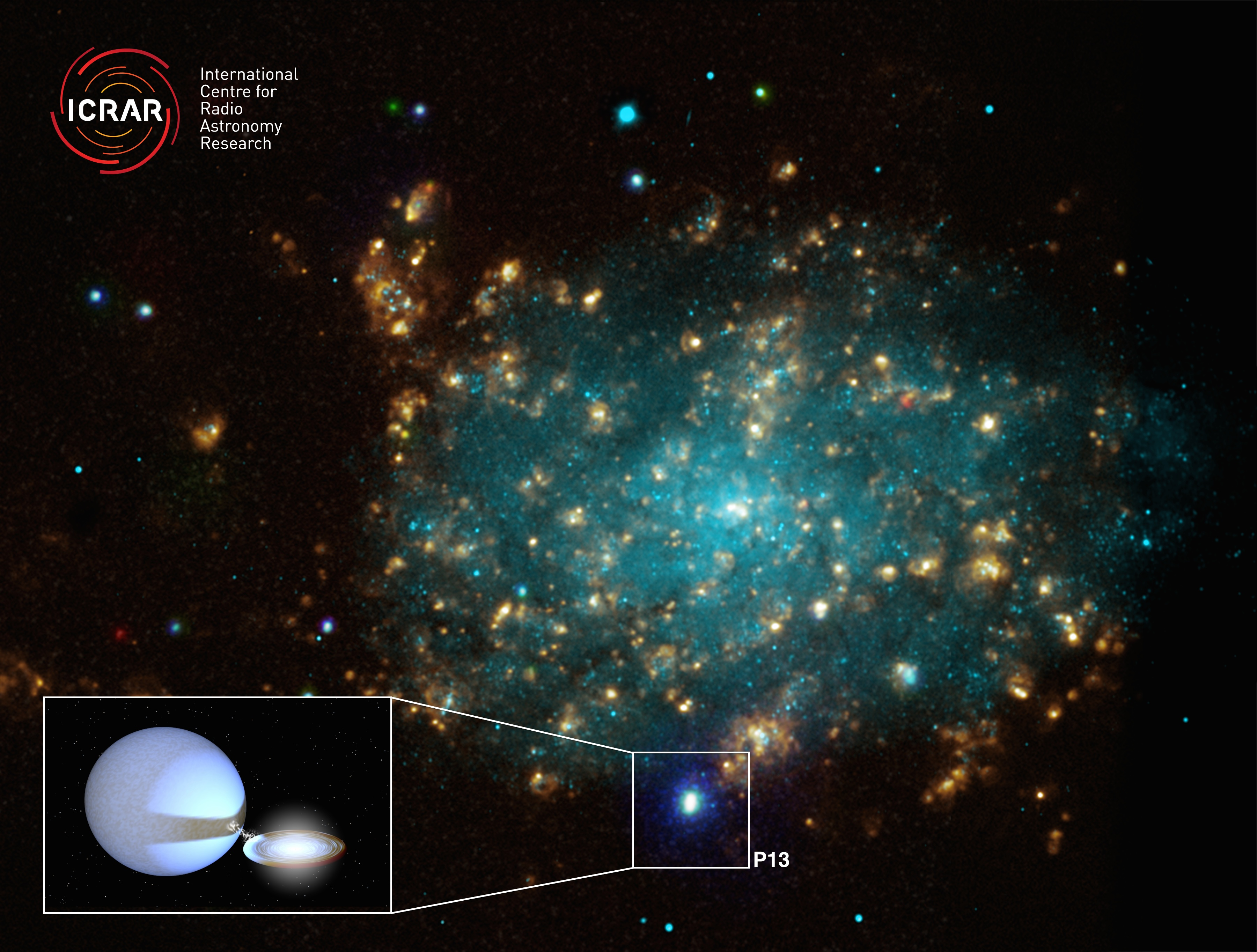 A galaxy about 12.7 million light years away containing a so-called microquasar.