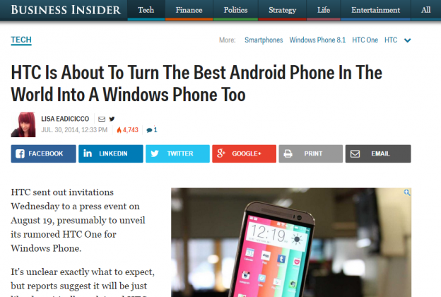 HTC One For Windows   Business Insider