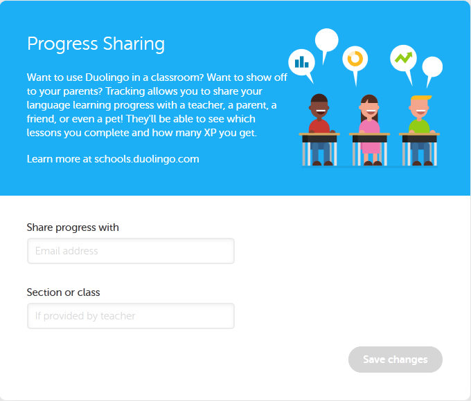 Duolingo-Progress Sharing Settings