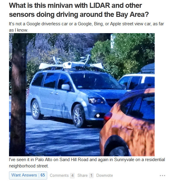 car with LiDAR spot in bay area