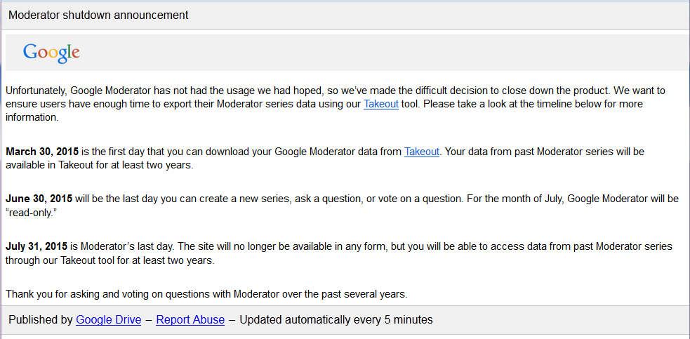 Google-Moderator shutdown announcement