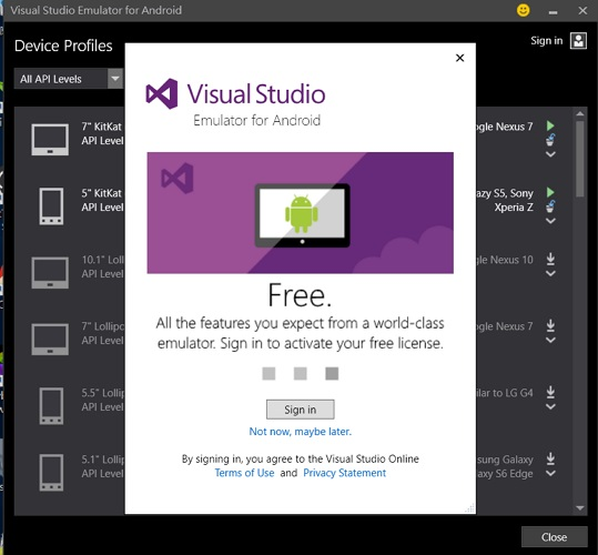 Visual Studio Android 7