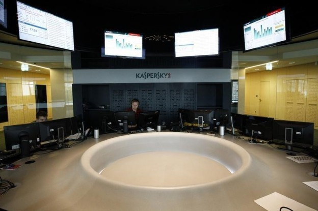 Employees work at the headquarters of Kaspersky Labs in Moscow