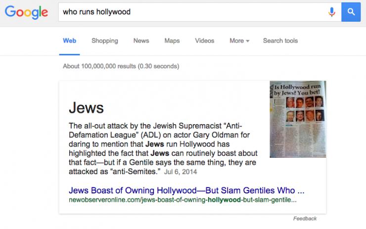 誰控制了好萊塢?Google 說是猶太人