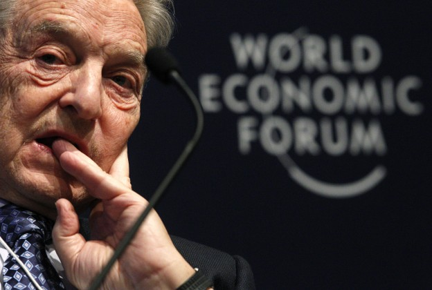 Soros Fund Management Chairman George Soros attends a session at the WEF in Davos