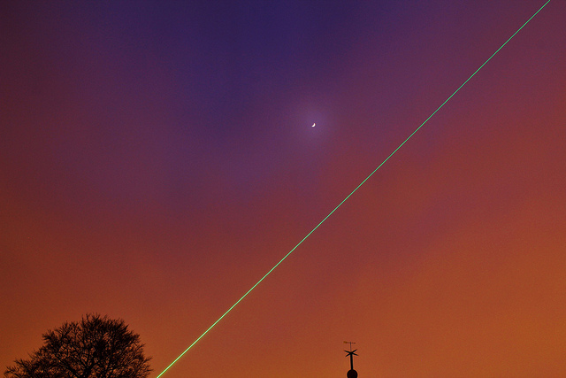 Meridian laser and the Moon
