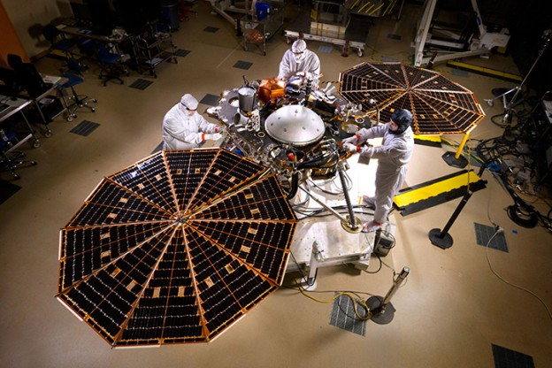 InSight spacecraft solar array deployment