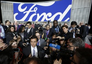 Mark Fields, President and CEO of Ford, speaks with journalists at the North American International Auto Show in Detroit