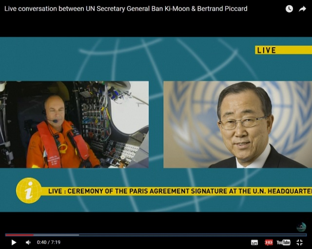 live conversation between UN secretary general ban ki-moon&bertrand piccard