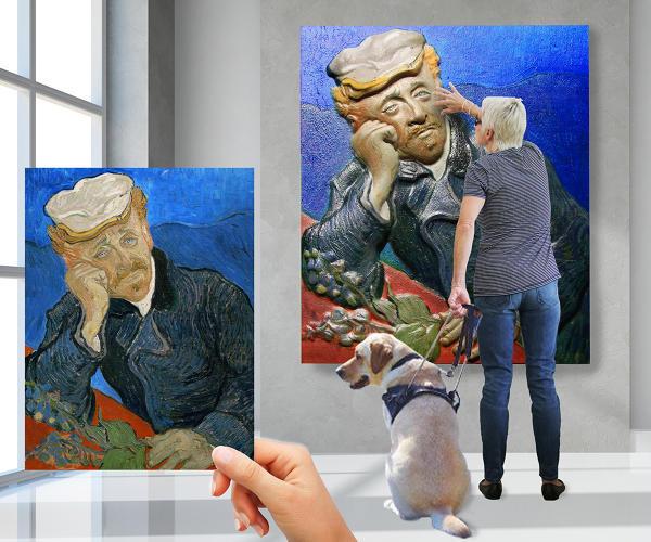 得益於新技術,盲人能靠觸摸欣賞藝術繪畫