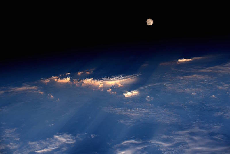 space station view of full moon