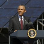 下載自路透 U.S. President Barack Obama delivers remarks on clean energy after a tour of a solar power array at Hill Air Force Base, Utah April 3, 2015. Obama announced a Department of Energy initiative Friday with the goal of training 75,000 workers, especially targeting veterans, to enter the solar energy workforce by the year 2020. REUTERS/Jonathan Ernst - RTR4W1DE