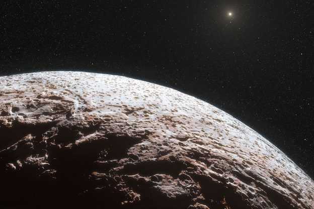 This artist's impression shows the surface of the distant dwarf planet Makemake. This dwarf planet is about two thirds of the size of Pluto, and travels around the Sun in a distant path that lies beyond that of Pluto, but closer to the Sun than Eris, the most massive known dwarf planet in the Solar System. Makemake was expected to have an atmosphere like Pluto, but this has now been shown to not be the case.