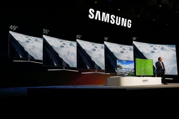Joe Stinziano, executive vice president of Samsung Electronics America Inc., speaks during an event at the 2016 Consumer Electronics Show (CES) in Las Vegas, Nevada, U.S., on Tuesday, Jan. 5, 2016. CES is expected to bring a range of announcements from major names in tech showcasing new developments in virtual reality, self-driving cars, drones, wearables, and the Internet of Things. Photographer: Patrick T. Fallon/Bloomberg via Getty Images