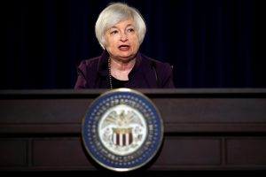 FILE PHOTO --  Federal Reserve Chair Janet Yellen attends a news conference after chairing the second day of a two-day meeting of the Federal Open Market Committee to set interest rates in Washington, DC, U.S. on June 17, 2015.  REUTERS/Carlos Barria/File Photo - RTX2N65W