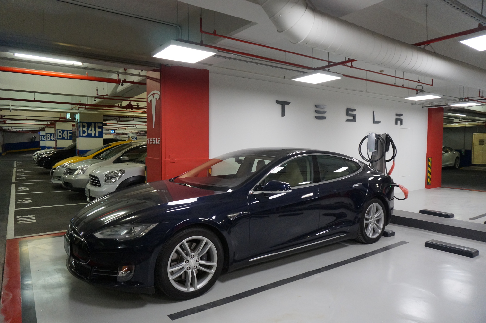 Tesla-Parking-in-Department-Store