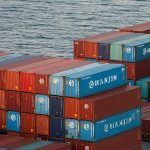 Hanjin Shipping Co shipping containers are seen stranded on a ship outside the Port of Long Beach, California, September 8, 2016. REUTERS/Lucy Nicholson - RTX2ORDH
