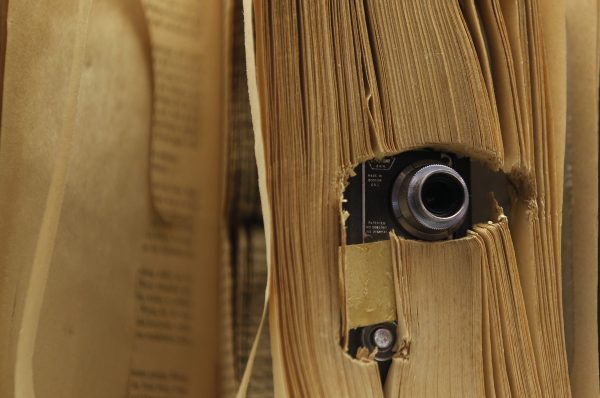 下載自路透 A small photo camera placed in a book and used by the U.S. Central Intelligence Agency (CIA), is displayed at the