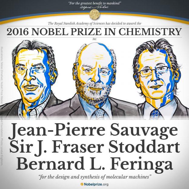 2016諾貝爾化學獎:來英、法、荷的 3學者以「設計與合成分子機械」研
