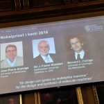 下載自路透 Pictures of the winners of the 2016 Nobel Chemistry Prize: Jean-Pierre Sauvage, J Fraser Stoddart and Bernard L Feringa are displayed on a screen during a news conference by the Royal Swedish Academy of Sciences in Stockholm, Sweden October 5, 2016. TT News Agency/Henrik Montgomery/via Reuters?ATTENTION EDITORS - THIS IMAGE WAS PROVIDED BY A THIRD PARTY. FOR EDITORIAL USE ONLY. NOT FOR SALE FOR MARKETING OR ADVERTISING CAMPAIGNS. SWEDEN OUT. NO COMMERCIAL OR EDITORIAL SALES IN SWEDEN. NO COMMERCIAL SALES. - RTSQUA9