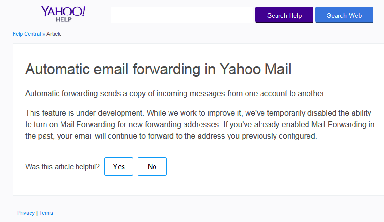 Automatic email forwarding in Yahoo Mail _ Yahoo Help