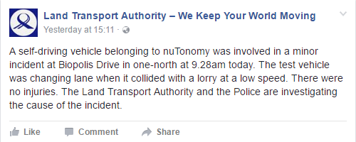 Photo Credit: Facebook/ Land Transport Authority