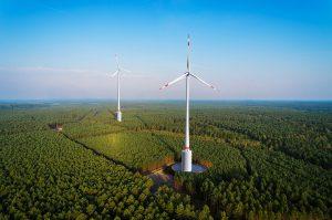 Panorama eines Windparks im Wald