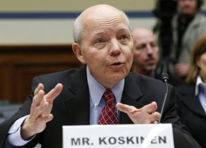 """IRS Commissioner John Koskinen testifies before the House Oversight and Government Reform Committee hearing on """"Examining the IRS (Internal Revenue Service) Response to the Targeting Scandal"""" on Capitol Hill in Washington March 26, 2014. REUTERS/Yuri Gripas (UNITED STATES - Tags: POLITICS BUSINESS) - RTR3IO4W"""