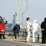Firefighters and local residents look toward the port to check the water level after tsunami advisories were issued following an earthquake in Soma, Fukushima prefecture, Japan, in this photo taken by Kyodo November 22, 2016. Mandatory credit Kyodo  Kyodo/via REUTERSATTENTION EDITORS - THIS IMAGE WAS PROVIDED BY A THIRD PARTY. EDITORIAL USE ONLY. MANDATORY CREDIT. JAPAN OUT. NO COMMERCIAL OR EDITORIAL SALES IN JAPAN. - RTSSPVP