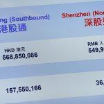 下載自路透 A panel displays the turnover (top) and shares traded (bottom) after the launch of Shenzhen Connect at the Hong Kong Exchanges in Hong Kong, China December 5, 2016.      REUTERS/Bobby Yip - RTSUNJK