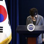 South Korean President Park Geun-Hye bows during an address to the nation, at the presidential Blue House in Seoul, South Korea, 29 November 2016. REUTERS/Jeon Heon-Kyun/Pool - RTSTRIG