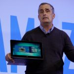 Brian Krzanich, Intel CEO, holding a laptop with a 20nm chip to be released later this year speaks during the Intel press conference at CES in Las Vegas, January 4, 2017.  REUTERS/Rick Wilking - RTX2XKS5