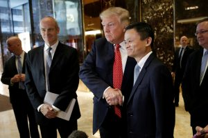下載自路透 U.S. President-elect Donald Trump shakes hands with and Alibaba executive chairman Jack Ma after their meeting at Trump Tower in New York, U.S., January 9, 2017. REUTERS/Mike Segar - RTX2Y71P