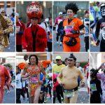 下載自路透 Athletics - Tokyo Marathon 2017 - Tokyo, Japan - 26/02/17 - A combination picture shows participants in various costumes running at the Tokyo Marathon 2017.  REUTERS/Toru Hanai     TPX IMAGES OF THE DAY - RTS10CG1