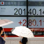 下載自路透 Women holding parasols, look at an electronic board showing Japan's Nikkei average outside a brokerage in Tokyo, Japan June 2, 2017.   REUTERS/Toru Hanai     TPX IMAGES OF THE DAY - RTX38MM6