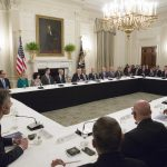 下載自美聯社 United States President Donald J. Trump (C) participates in an American Technology Council roundtable with corporate and eduction leaders at The White House in Washington, DC, June 19, 2017. - NO WIRE SERVICE - Photo by: Chris Kleponis/picture-alliance/dpa/AP Images