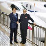 下載自路透 Indian Prime Minister Narendra Modi (R) and Japan's Prime Minister Shinzo Abe pose in front of a Shinkansen bullet train before heading for Hyogo prefecture at Tokyo Station, Japan November 12, 2016, in this photo taken by Kyodo. Mandatory credit Kyodo/via REUTERS ATTENTION EDITORS - THIS IMAGE WAS PROVIDED BY A THIRD PARTY. EDITORIAL USE ONLY. MANDATORY CREDIT. JAPAN OUT. NO COMMERCIAL OR EDITORIAL SALES IN JAPAN. TPX IMAGES OF THE DAY - S1BEUMJMCAAB