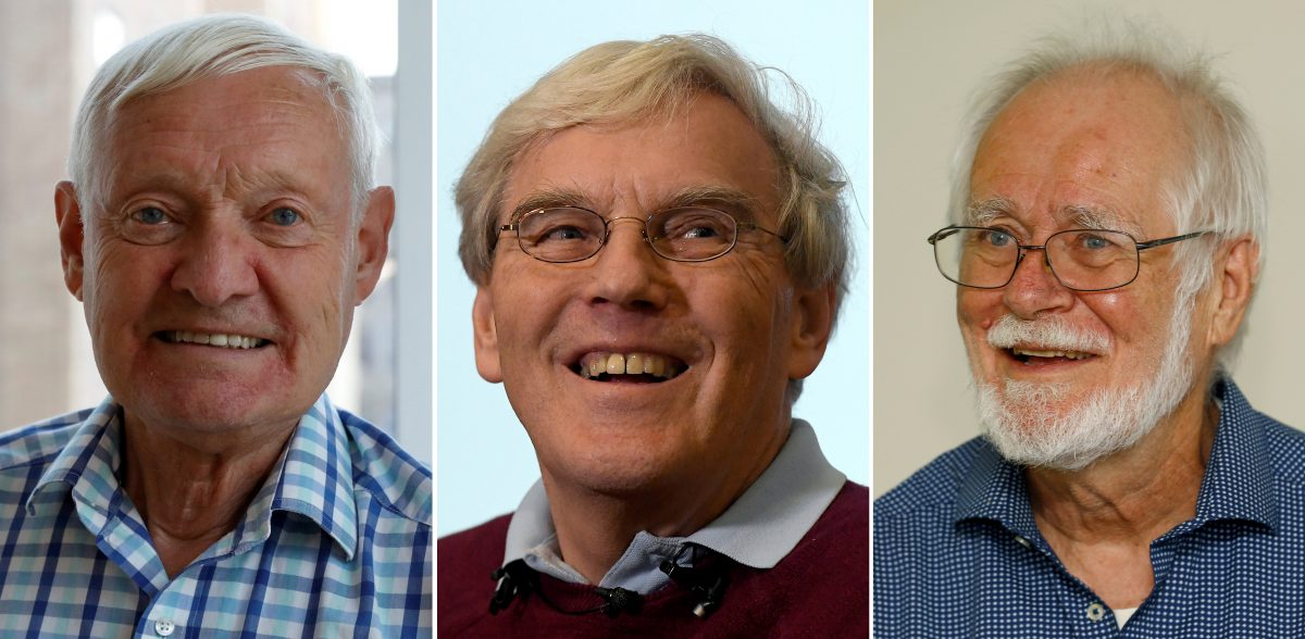 下載自路透 A combination photo shows the 2017 winners of the Nobel Prize in Chemistry, Joachim Frank, Richard Henderson and Jacques Dubochet, on October 4, 2017 in New York, U.S., Cambridge, Britain and Lausanne, Switzerland, respectively. REUTERS/Brendan McDermid, Toby Melville and Denis Balibouse - RC16A9672D70